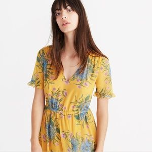 Madewell Dress in Painted Blooms - Gold/Yellow